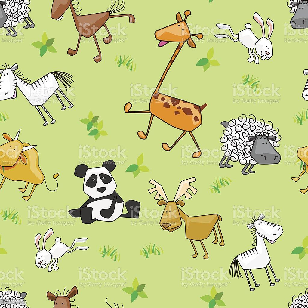 Seamless background - Wildlife animals vector art illustration
