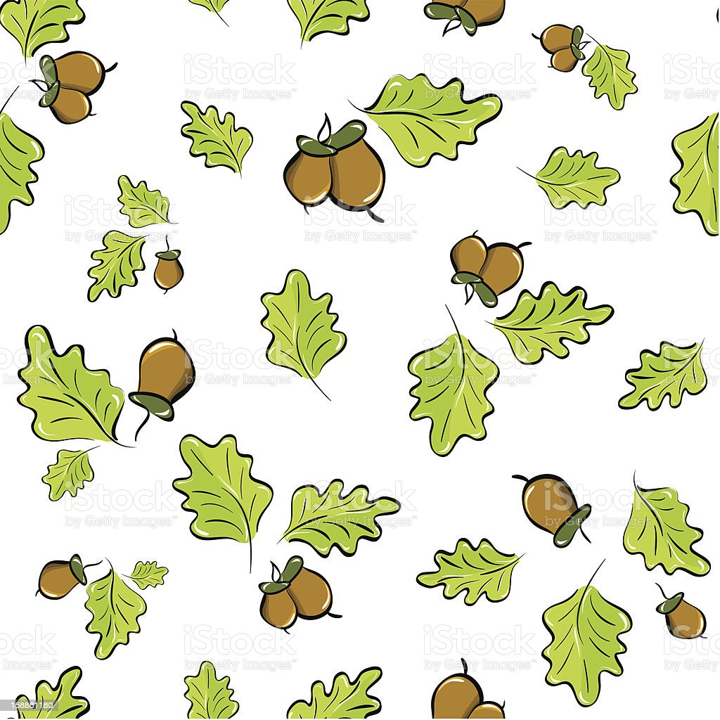 seamless background with acorns and oak leaves royalty-free stock vector art