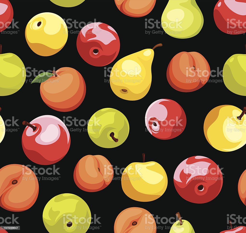 Seamless background with apples, pears and peaches. Vector illustration. royalty-free stock vector art