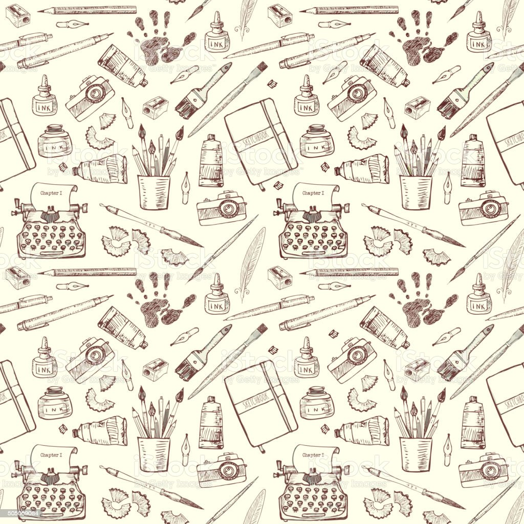 Seamless background with artist's and writer's tools. vector art illustration