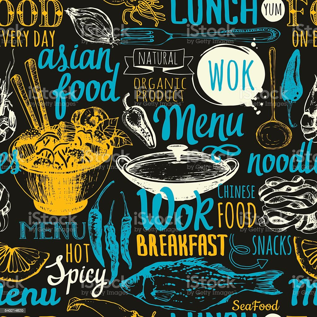 Seamless background with asian street food. Menu pattern. vector art illustration