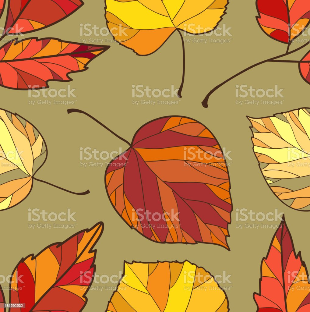 seamless background with autumn leaves royalty-free stock vector art