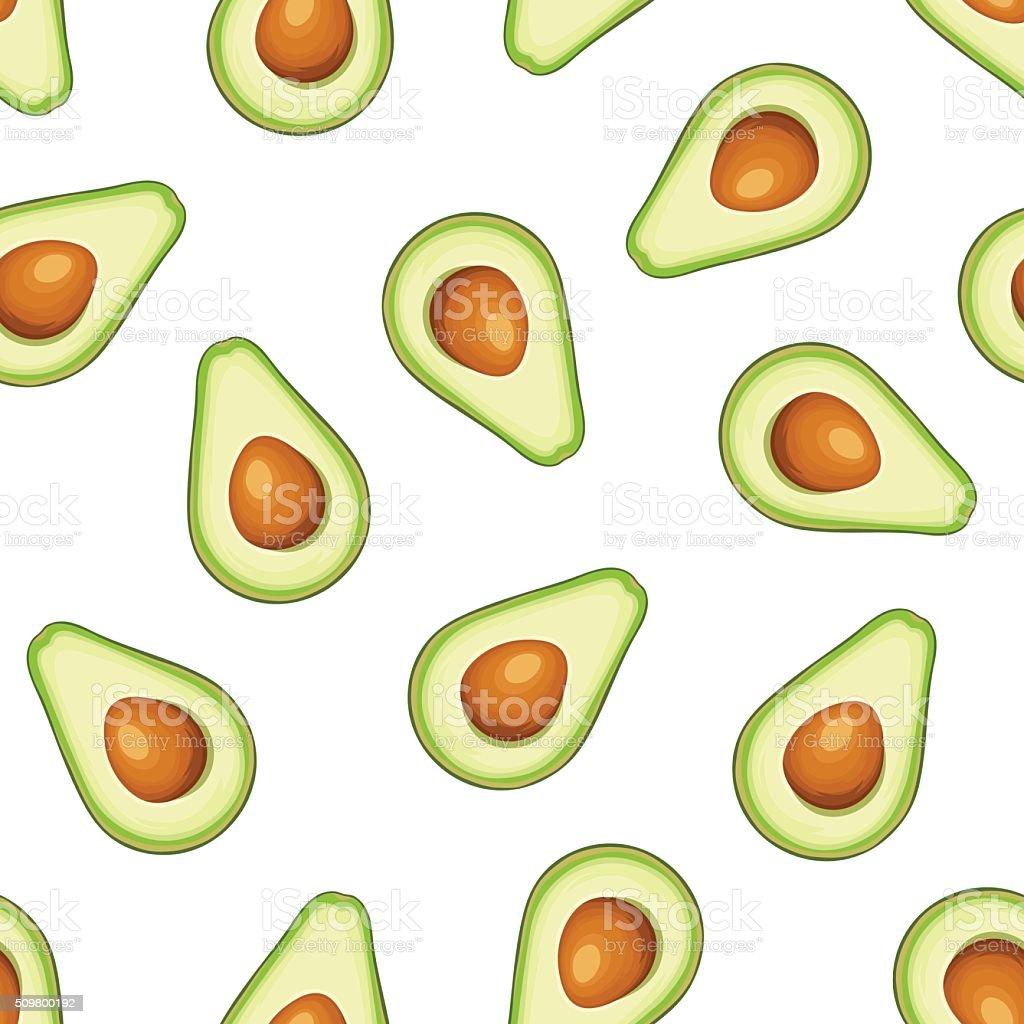 Seamless background with avocado fruit. Vector illustration. vector art illustration