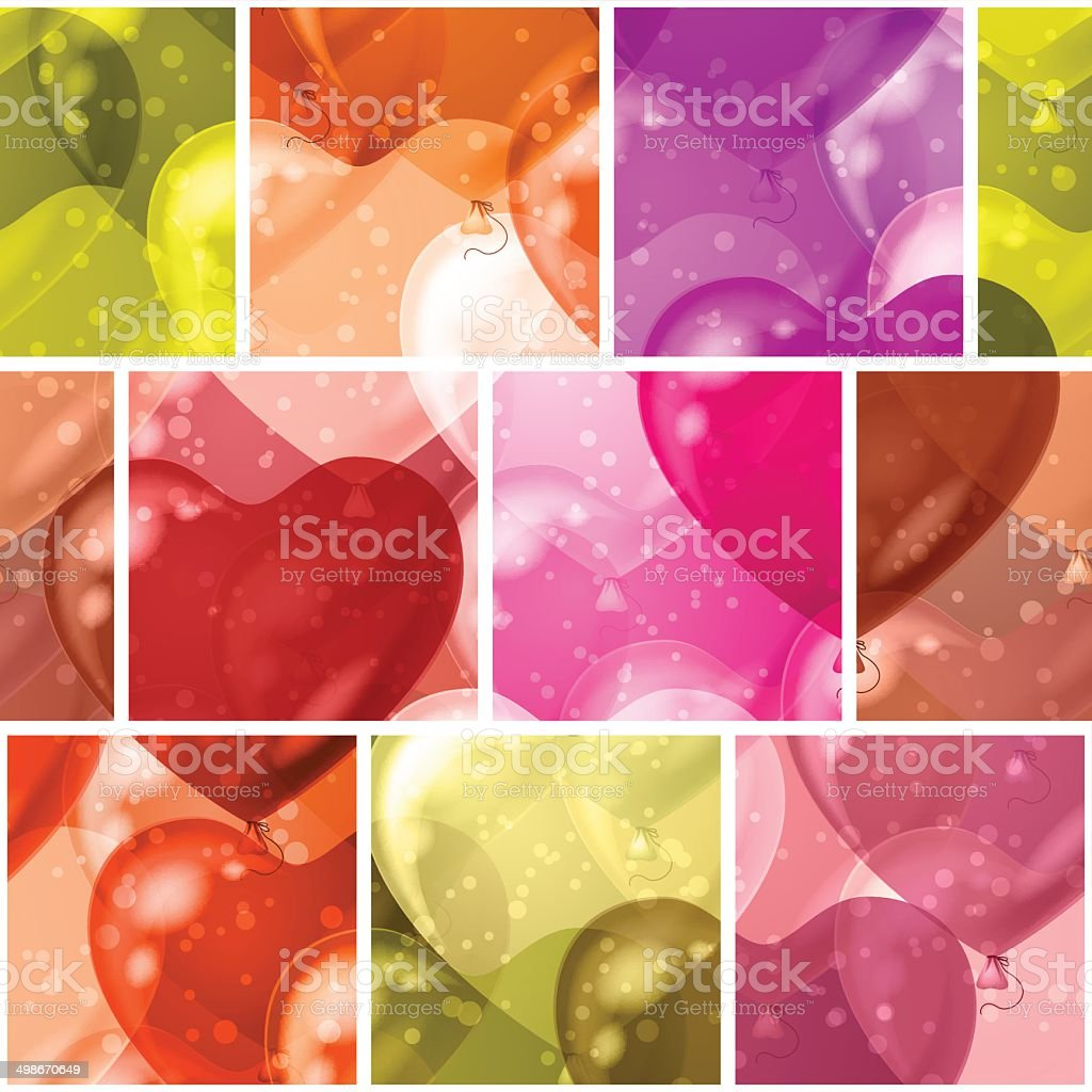 Seamless background with balloon hearts royalty-free stock vector art
