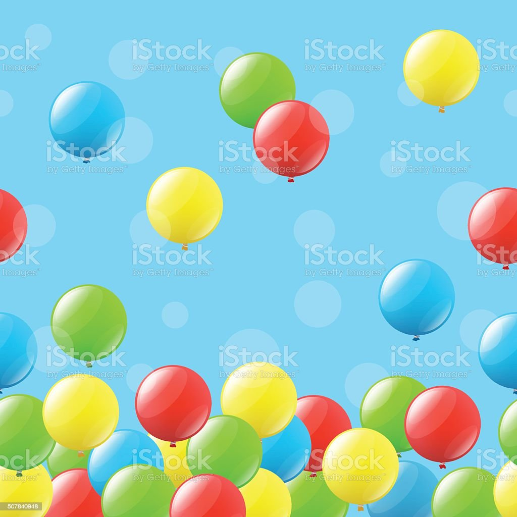 Seamless background with balloons vector art illustration