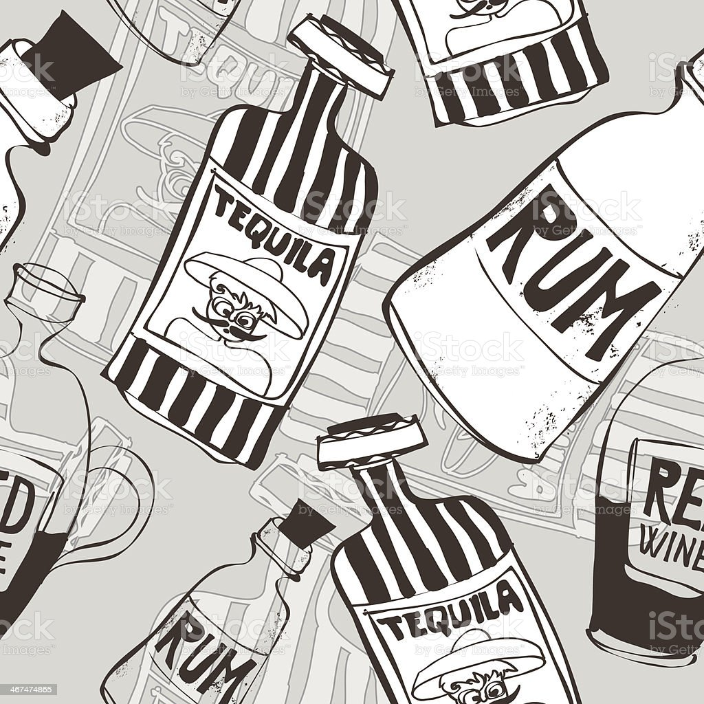 seamless background with bottles vector art illustration