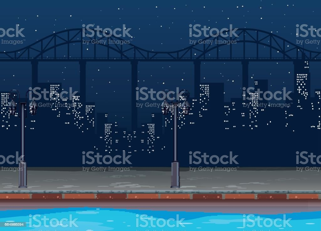 Seamless background with buildings in city at night vector art illustration