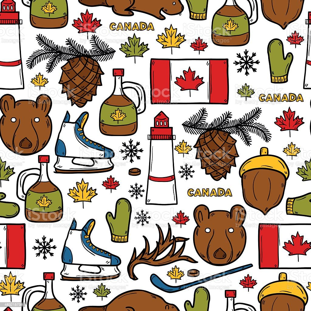 Seamless background with cartoon hand drawn objects on Canada theme vector art illustration