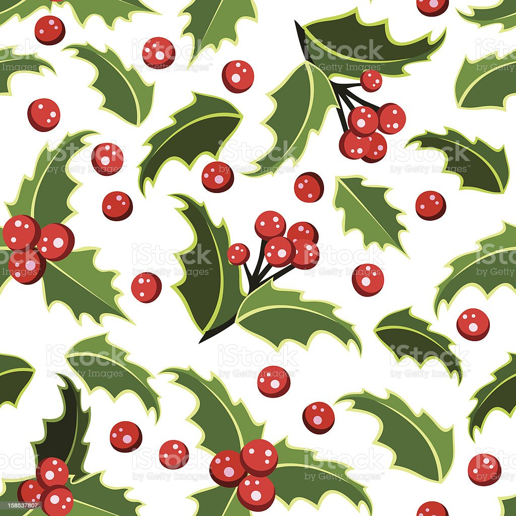 Seamless background with Christmas holly. Vector illustration. royalty-free stock vector art
