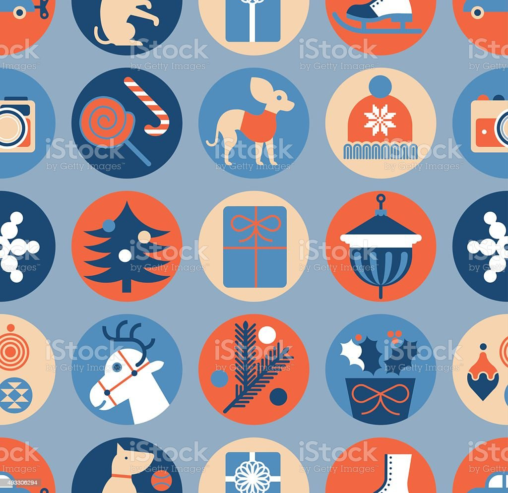Seamless background with christmas symbols. vector art illustration
