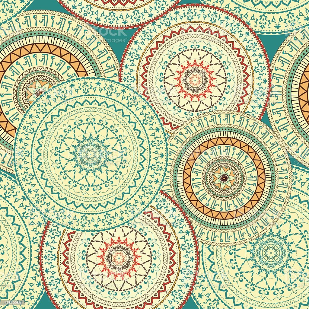 Seamless background with circular ornaments. vector art illustration