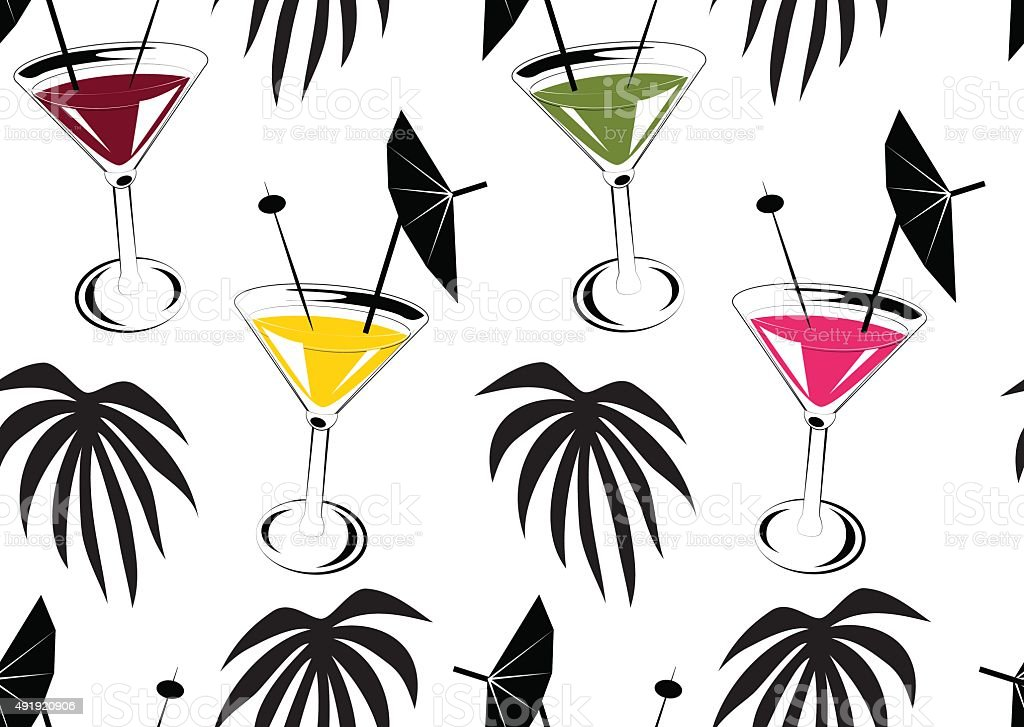 Seamless background with cocktails and palm leafs vector art illustration