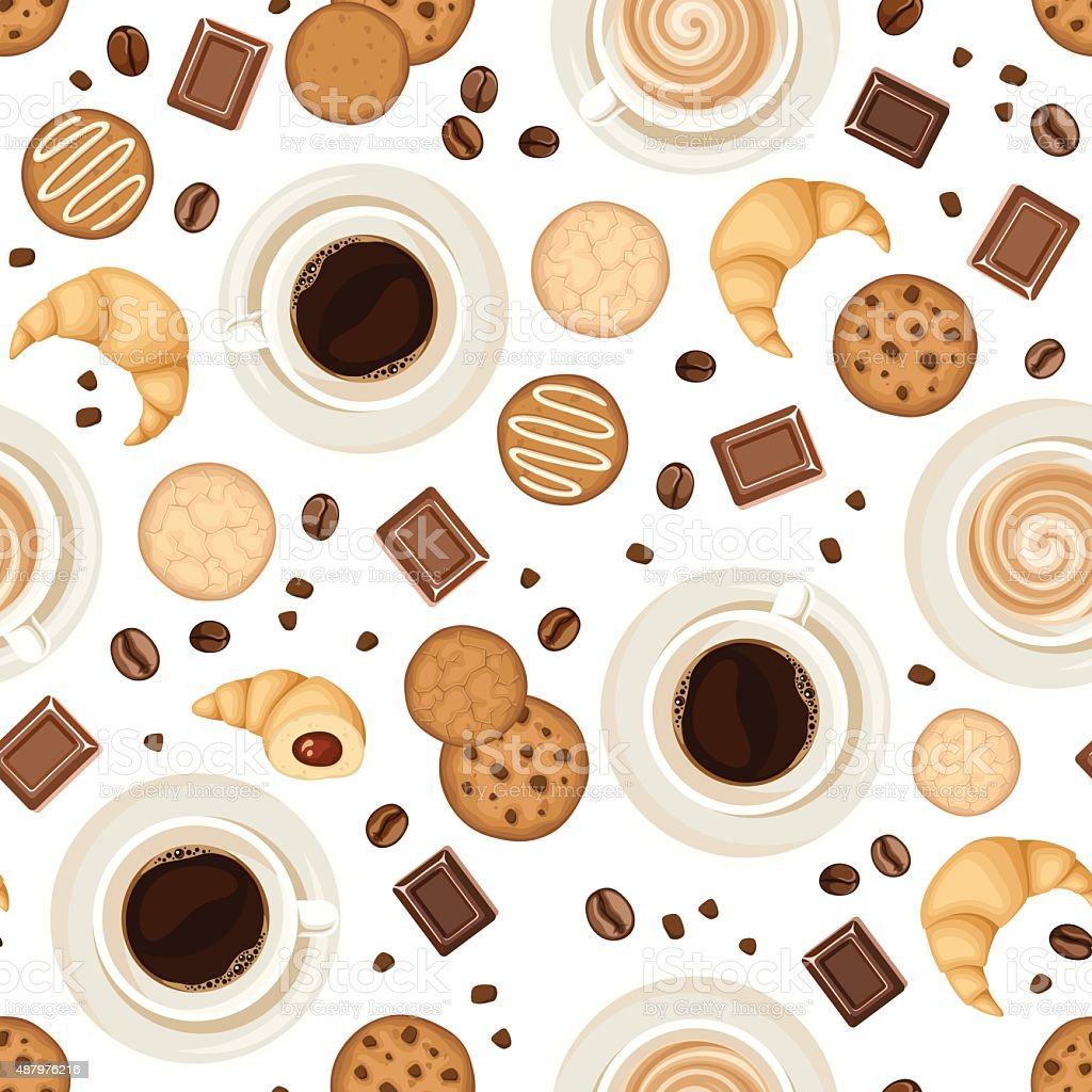 Seamless background with coffee cups, beans, cookies, croissants and chocolate. vector art illustration