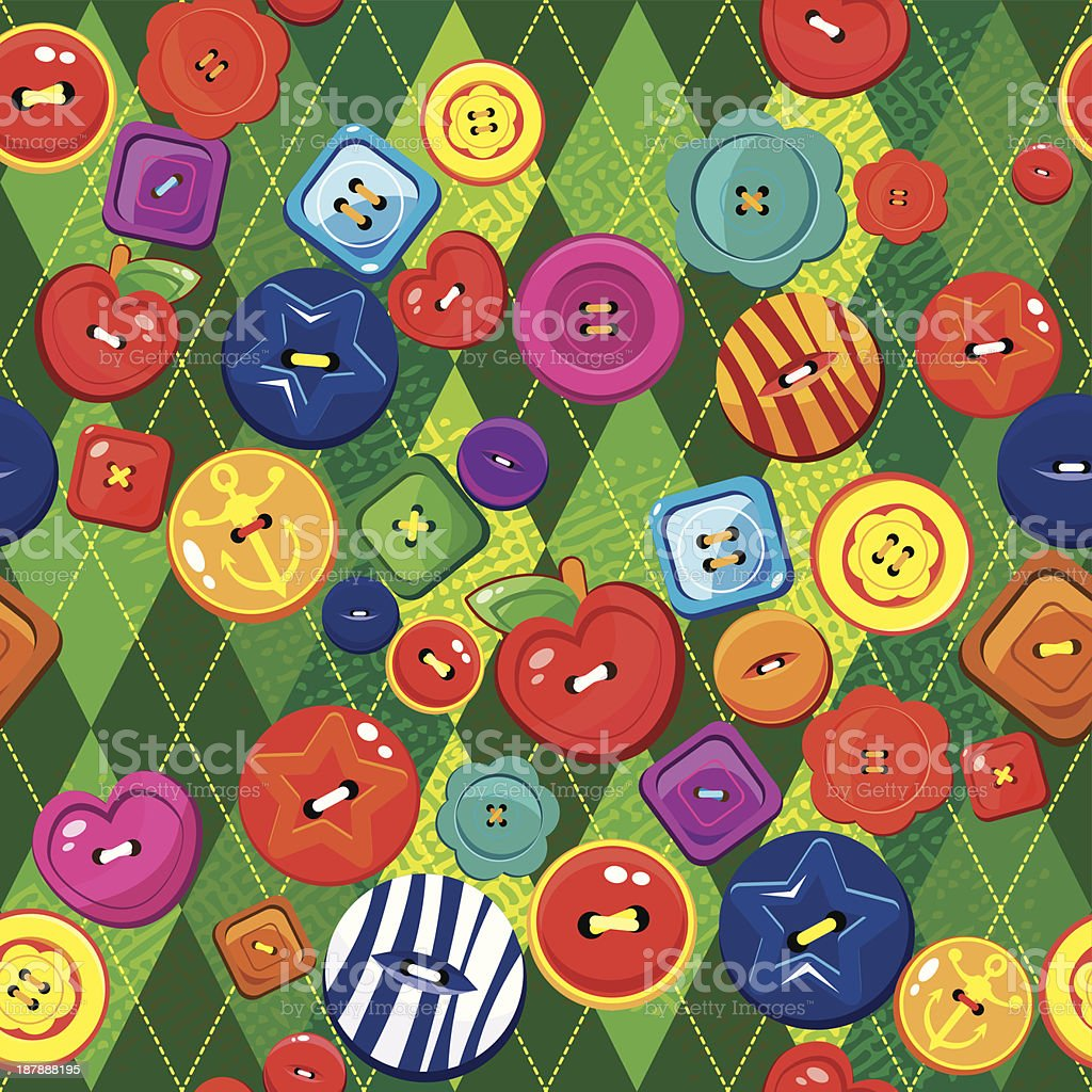 Seamless background with colorful sewing buttons. royalty-free stock vector art