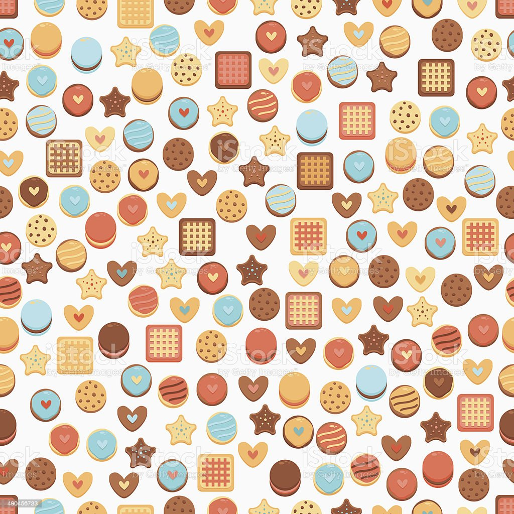 Seamless Background with cookies vector art illustration