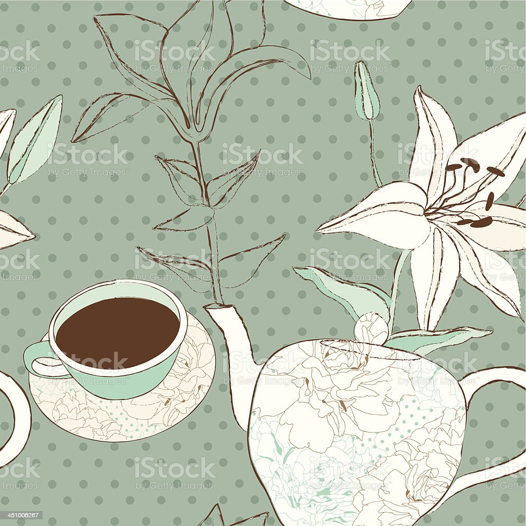 Seamless background with cups, teapot and lilies royalty-free stock vector art