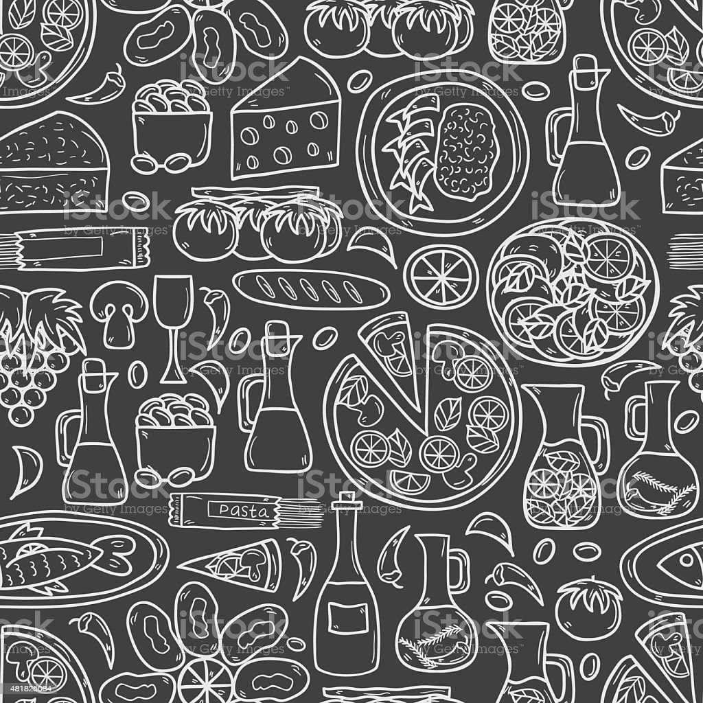 Seamless background with cute hand drawn cartoon objects on mediterranean vector art illustration