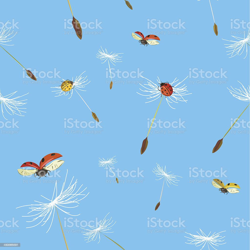 seamless background with dandelion and ladybug royalty-free stock vector art
