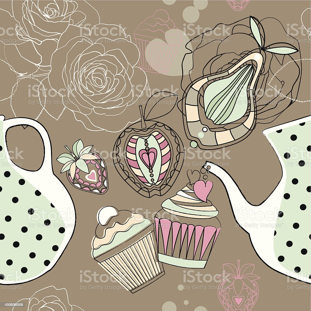 Seamless background with decorative tea, fruits and cakes. royalty-free stock vector art