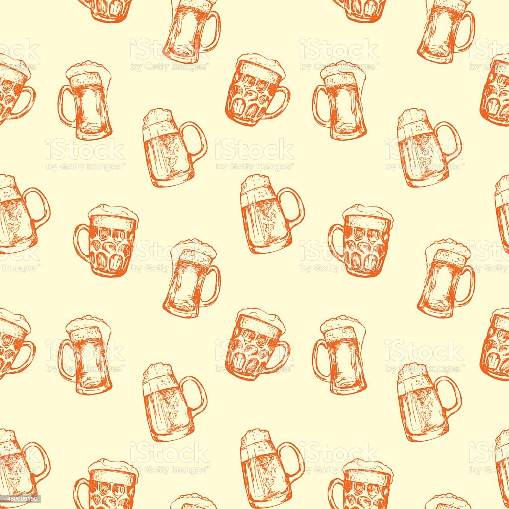 Seamless background with different glasses of beer vector art illustration