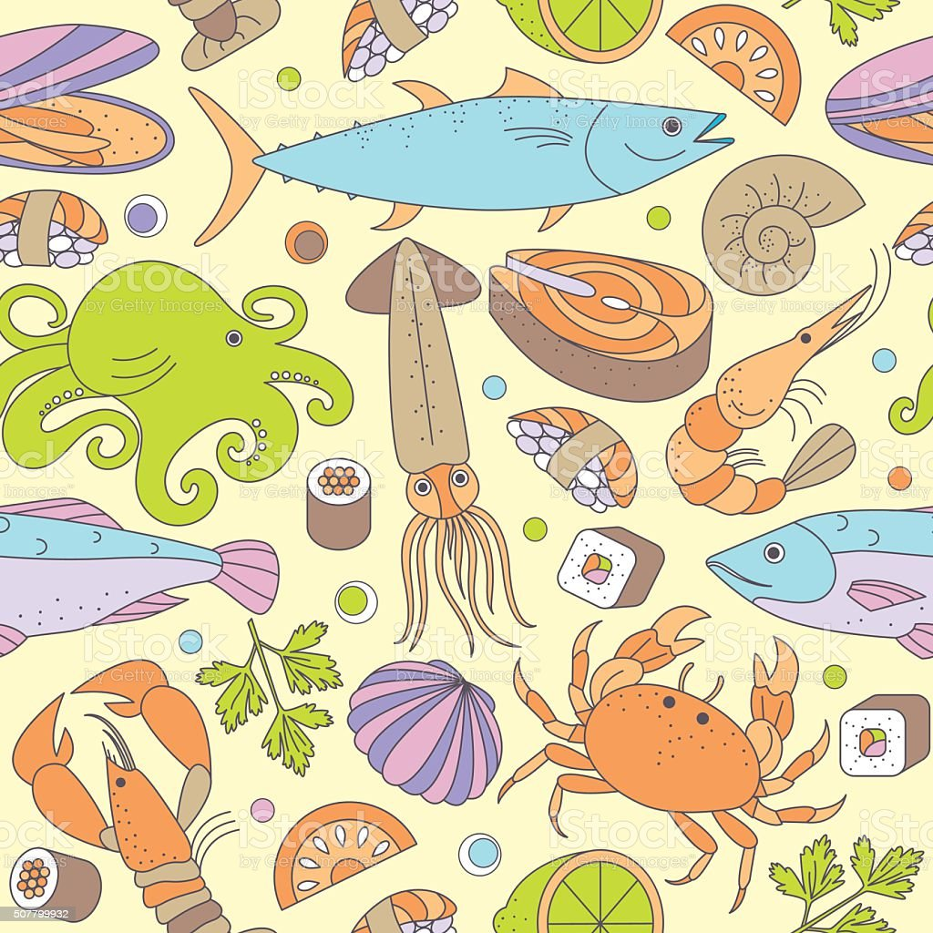 Seamless background with different marine animals and fishes. vector art illustration