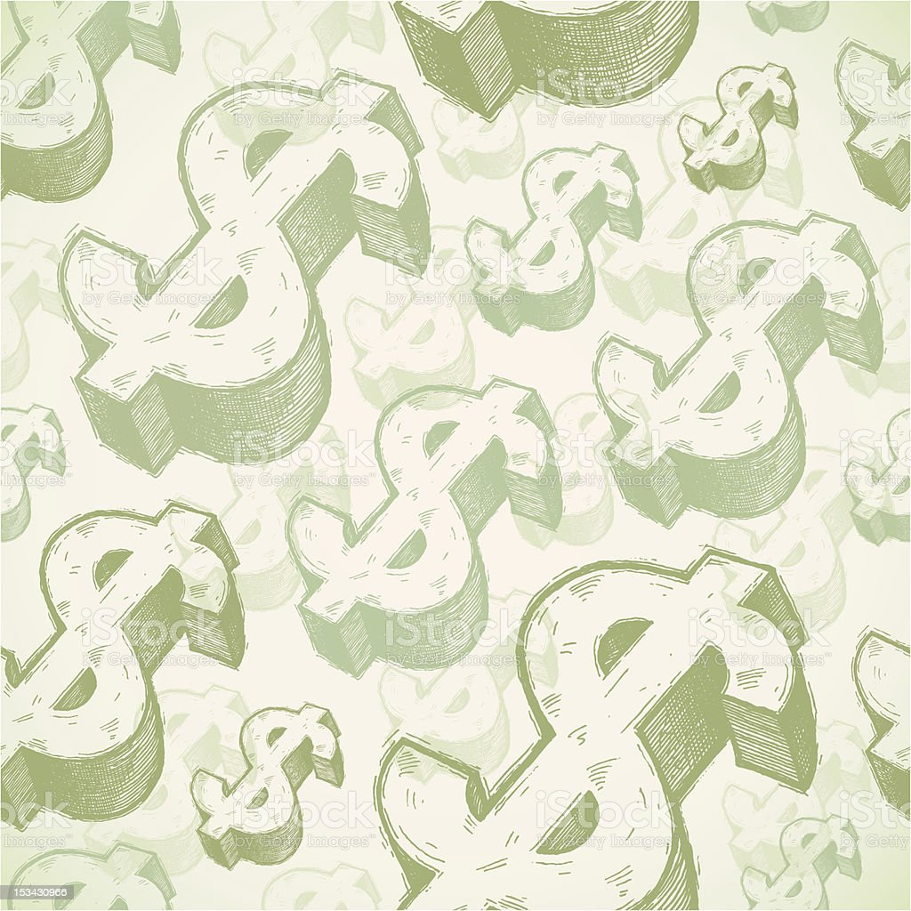 Seamless background with dollar signs vector art illustration