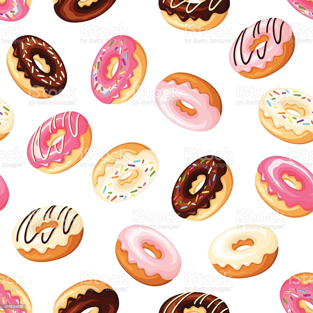 Seamless background with donuts. Vector illustration. vector art illustration