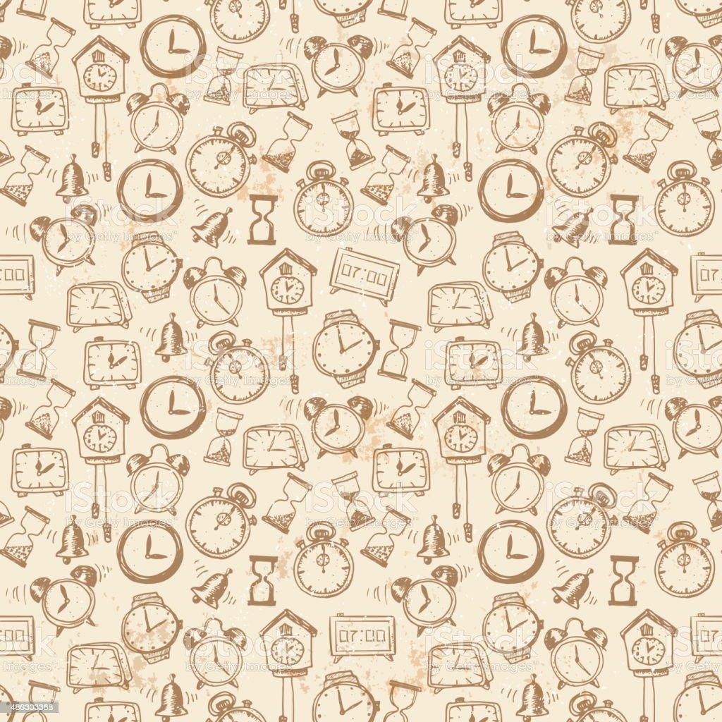 Armbanduhr skizze  Nahtlose Hintergrund Mit Doodle Skizze Uhren Vektor Illustration ...