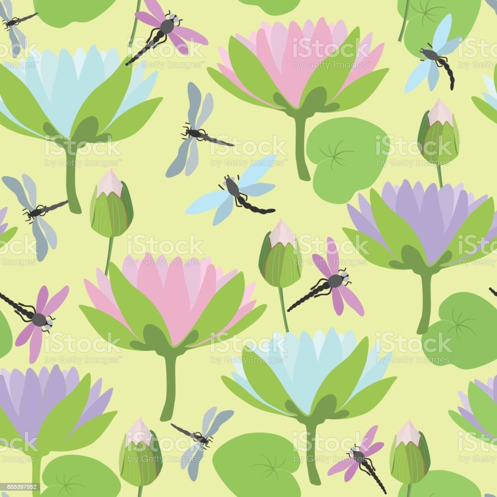 Seamless background with dragonflies and lotus flowers. Vector illustration. vector art illustration