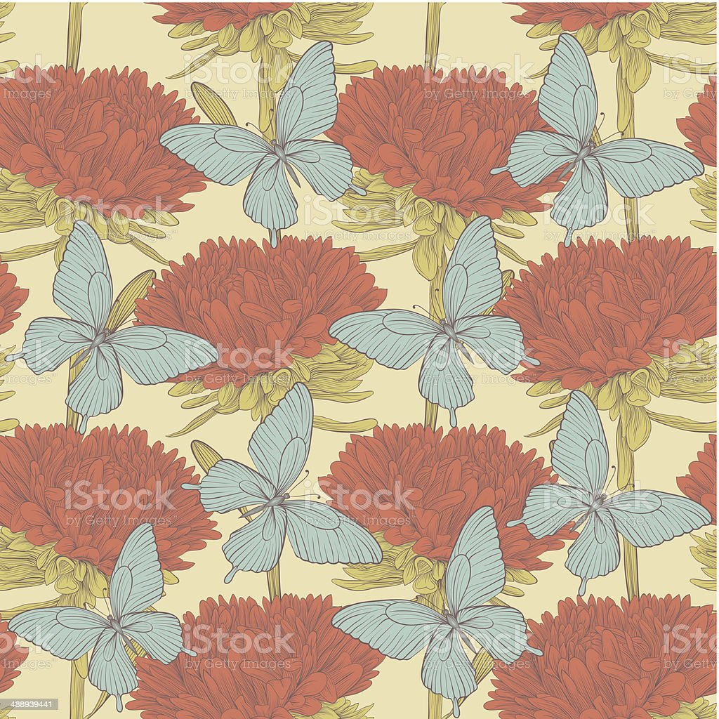 seamless background with flowers aster and butterflies. royalty-free stock vector art