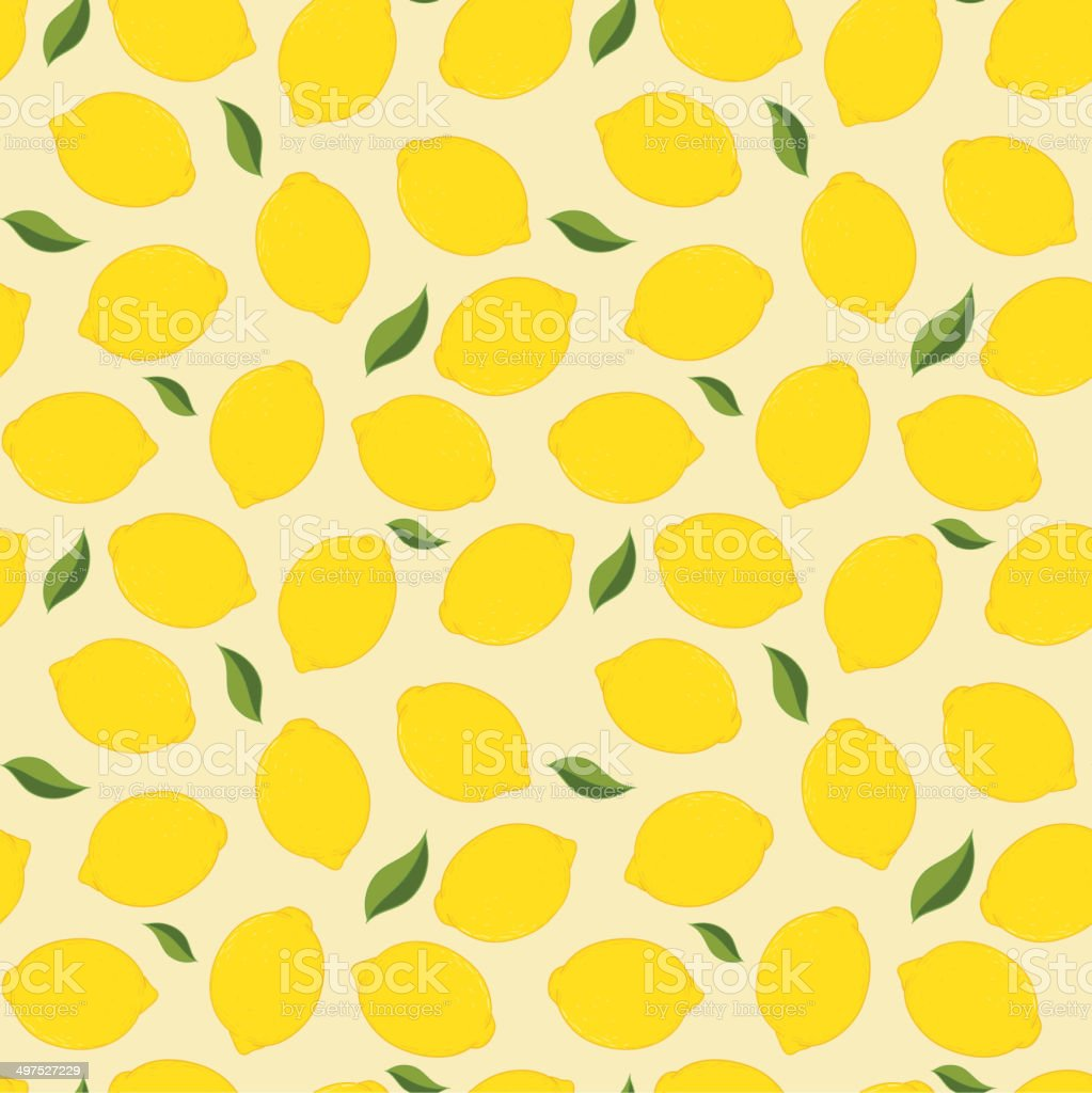Seamless background with fresh yellow lemon and leaves. vector art illustration