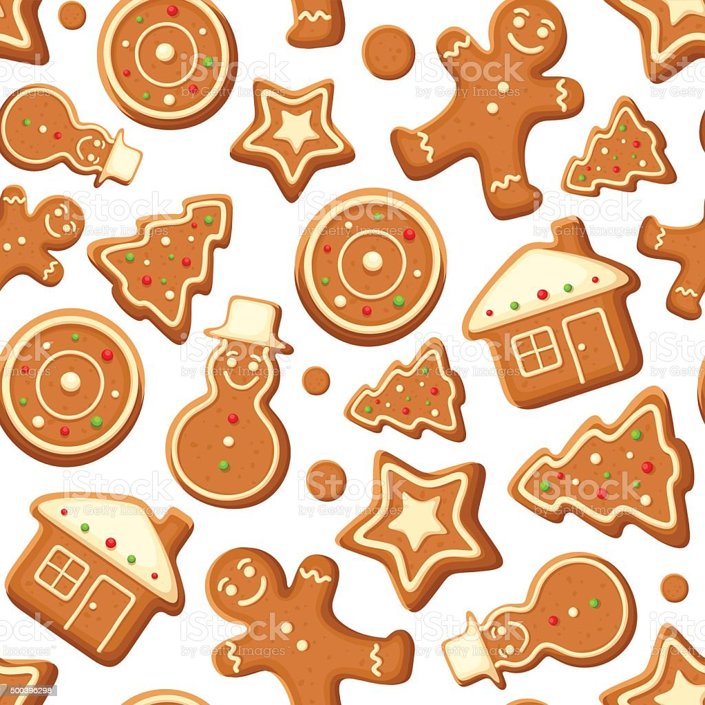 Seamless background with gingerbread cookies. Vector illustration. vector art illustration