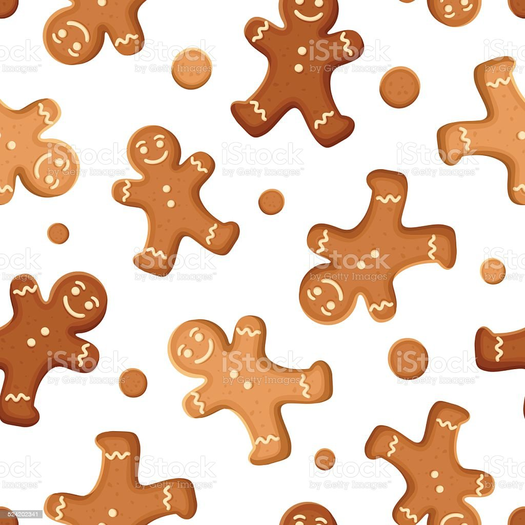 Seamless background with gingerbread men cookies. Vector illustration. vector art illustration