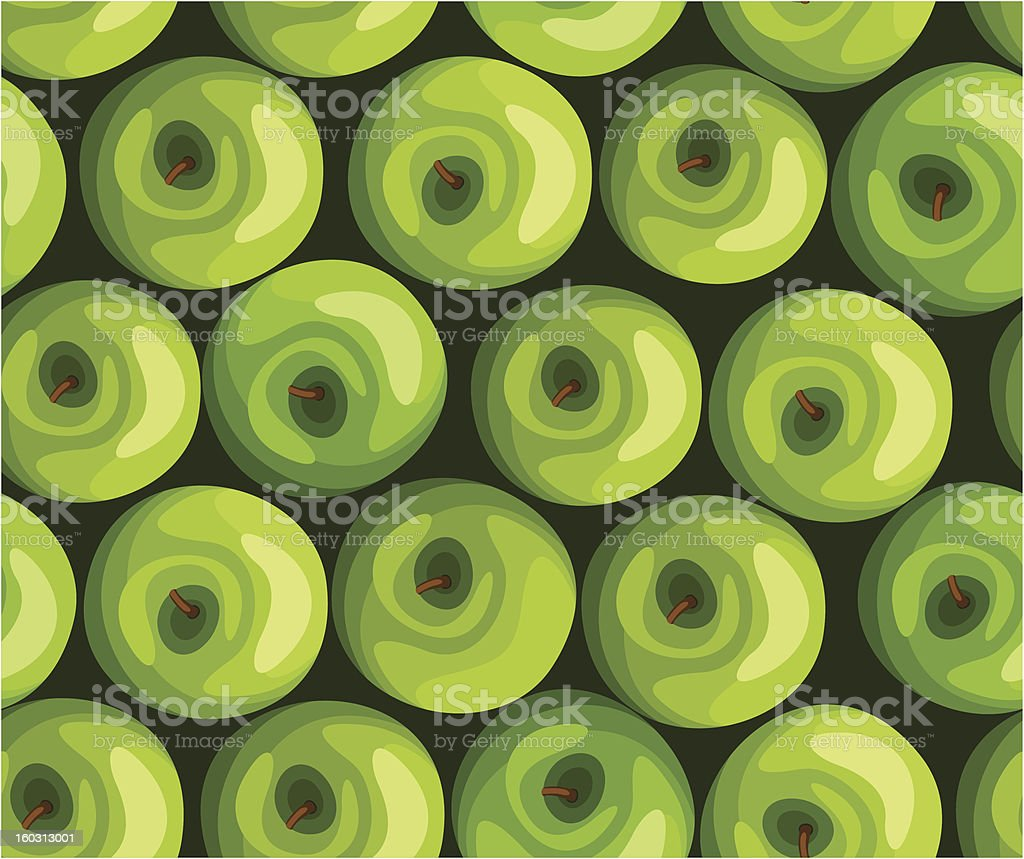 Seamless background with green apples. Vector illustration. royalty-free stock vector art