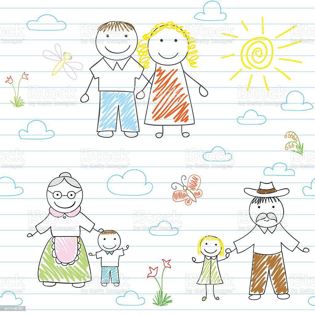 Seamless background with happy family vector art illustration