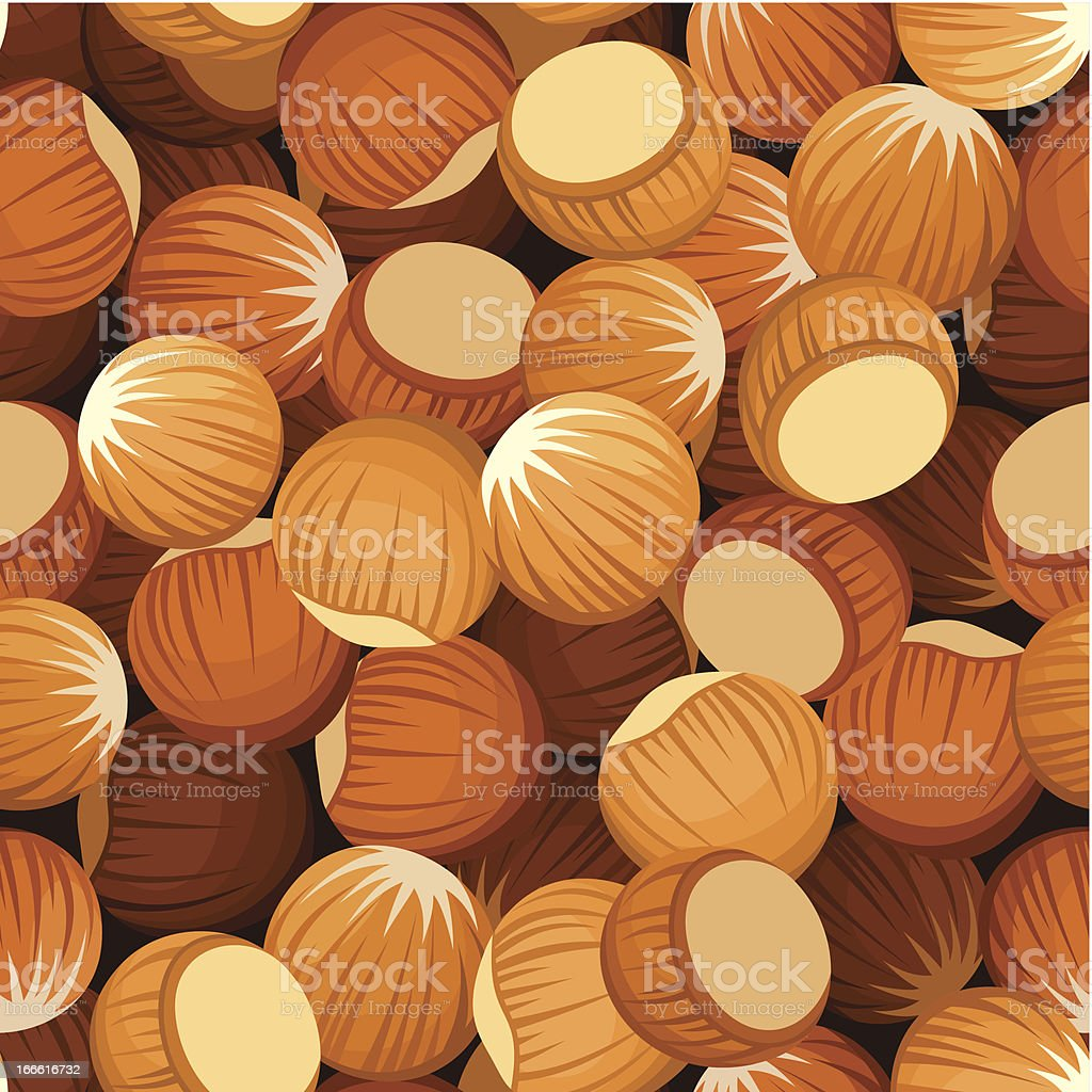 Seamless background with hazelnuts. Vector illustration. royalty-free stock vector art