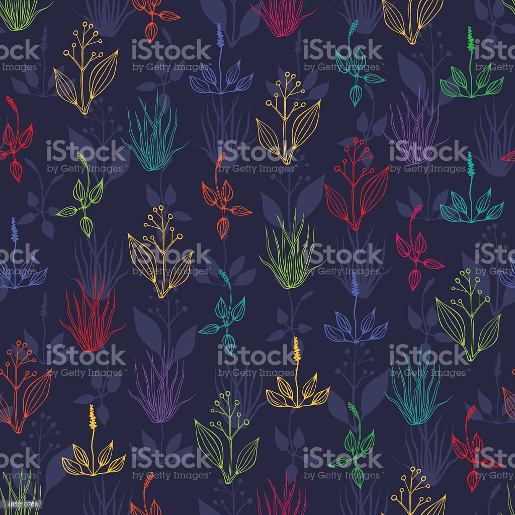 Seamless background with herbs vector art illustration