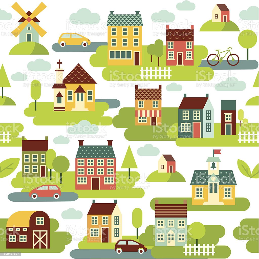 Seamless background with houses and city landscape vector art illustration