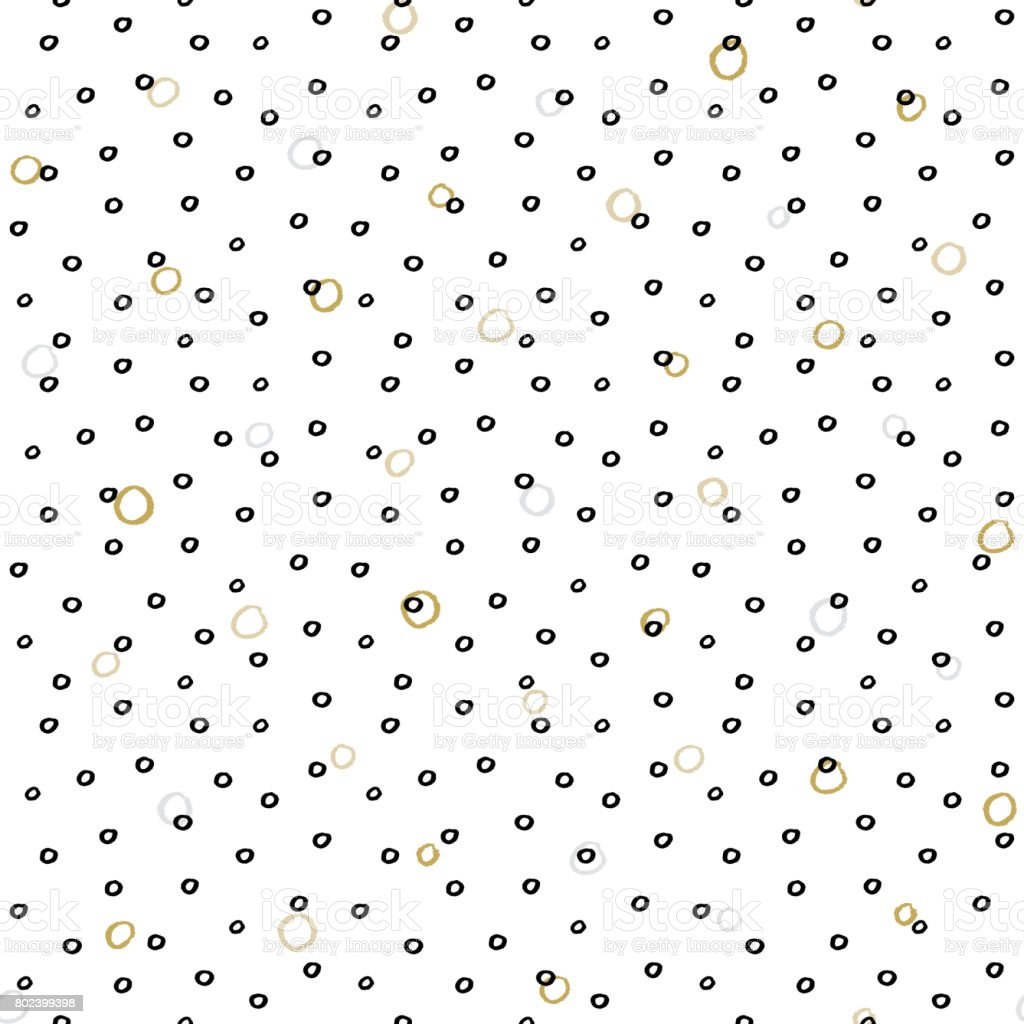 Seamless background with irregular dots, spots and circles. Dry brush and ink pattern vector art illustration