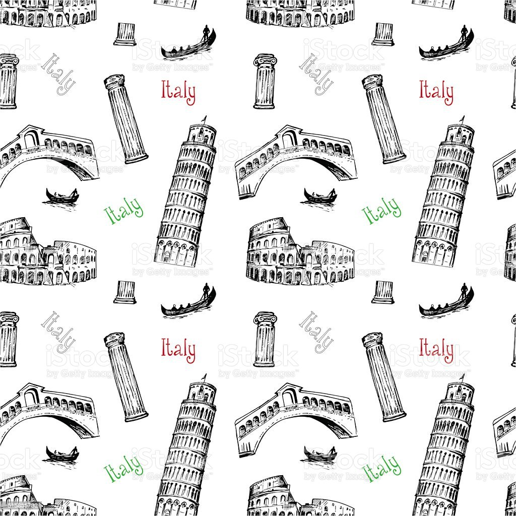 Seamless background with Italy symbols vector art illustration