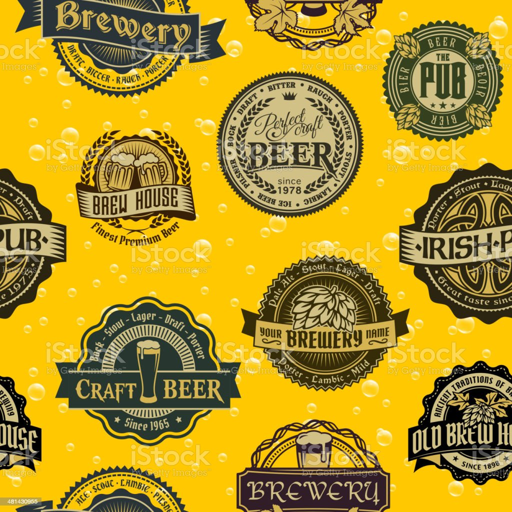 Seamless  background with labels of beer royalty-free stock vector art