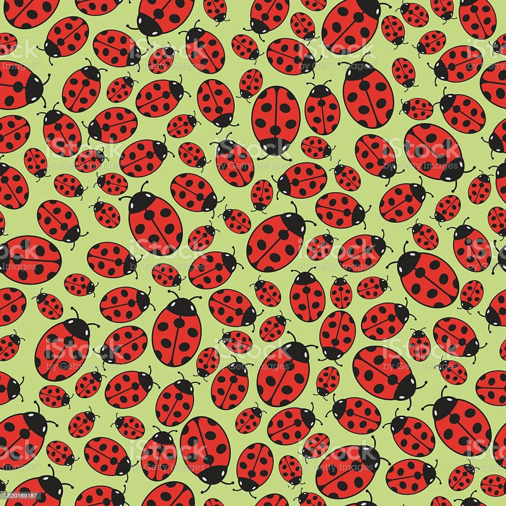 Seamless background with ladybugs royalty-free stock vector art