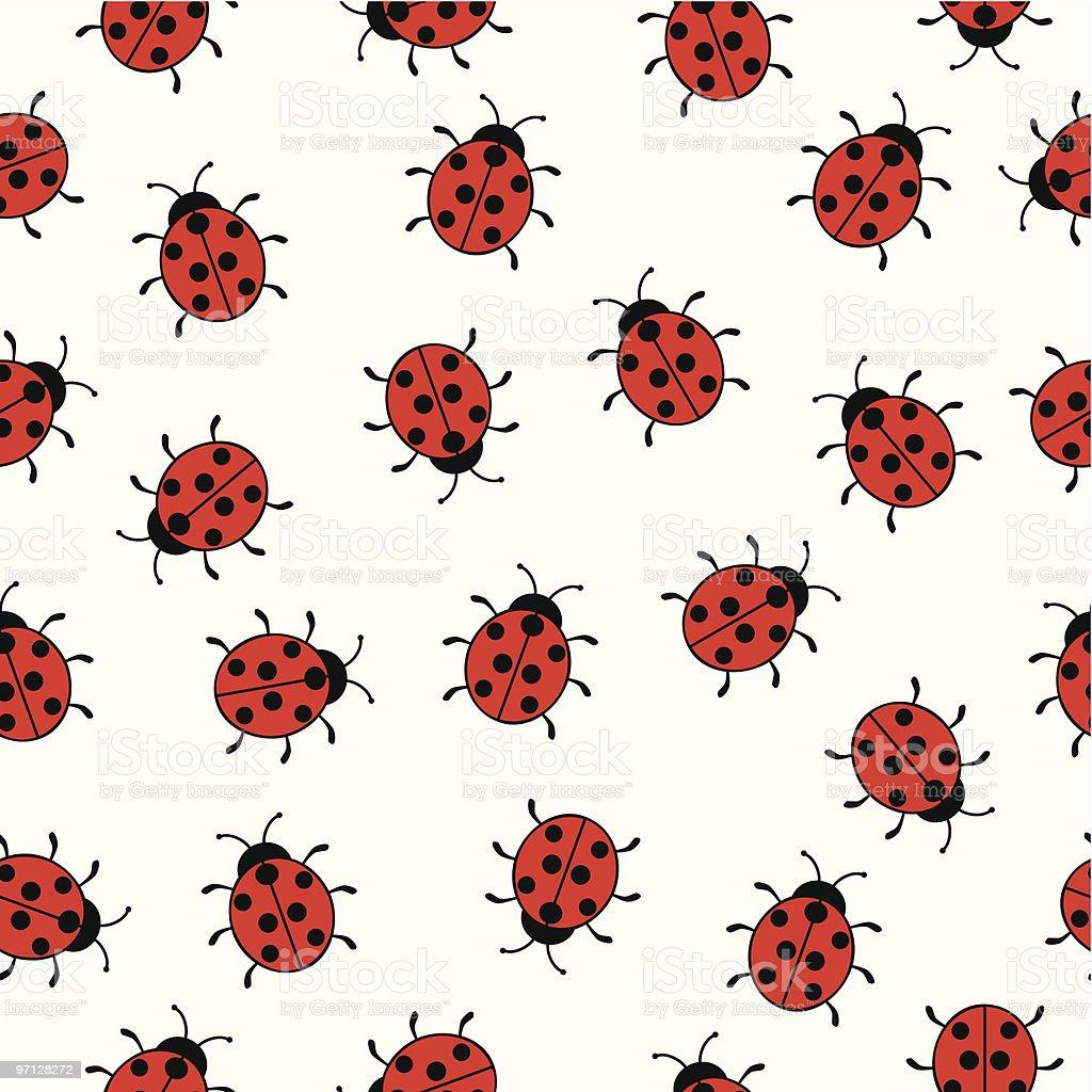 Seamless background with ladybugs vector art illustration