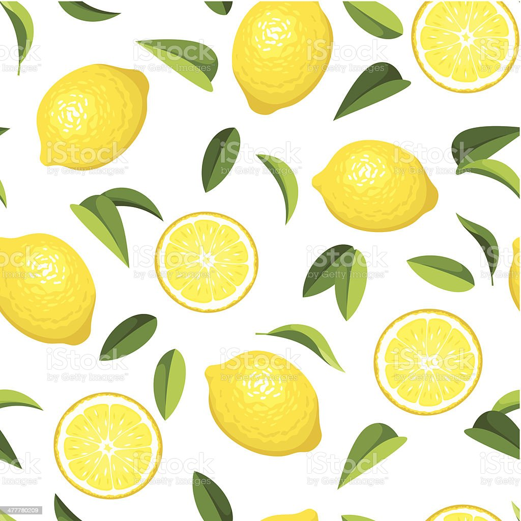 Seamless background with lemons. Vector illustration. vector art illustration