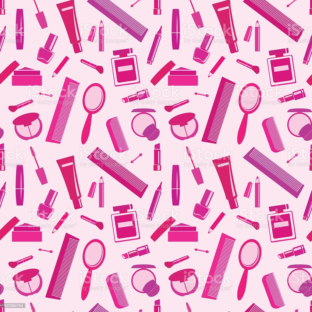 Seamless background with make-up elements vector art illustration