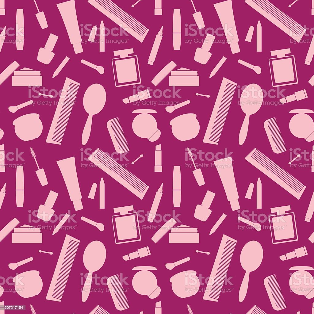 Seamless background with makeup elements vector art illustration