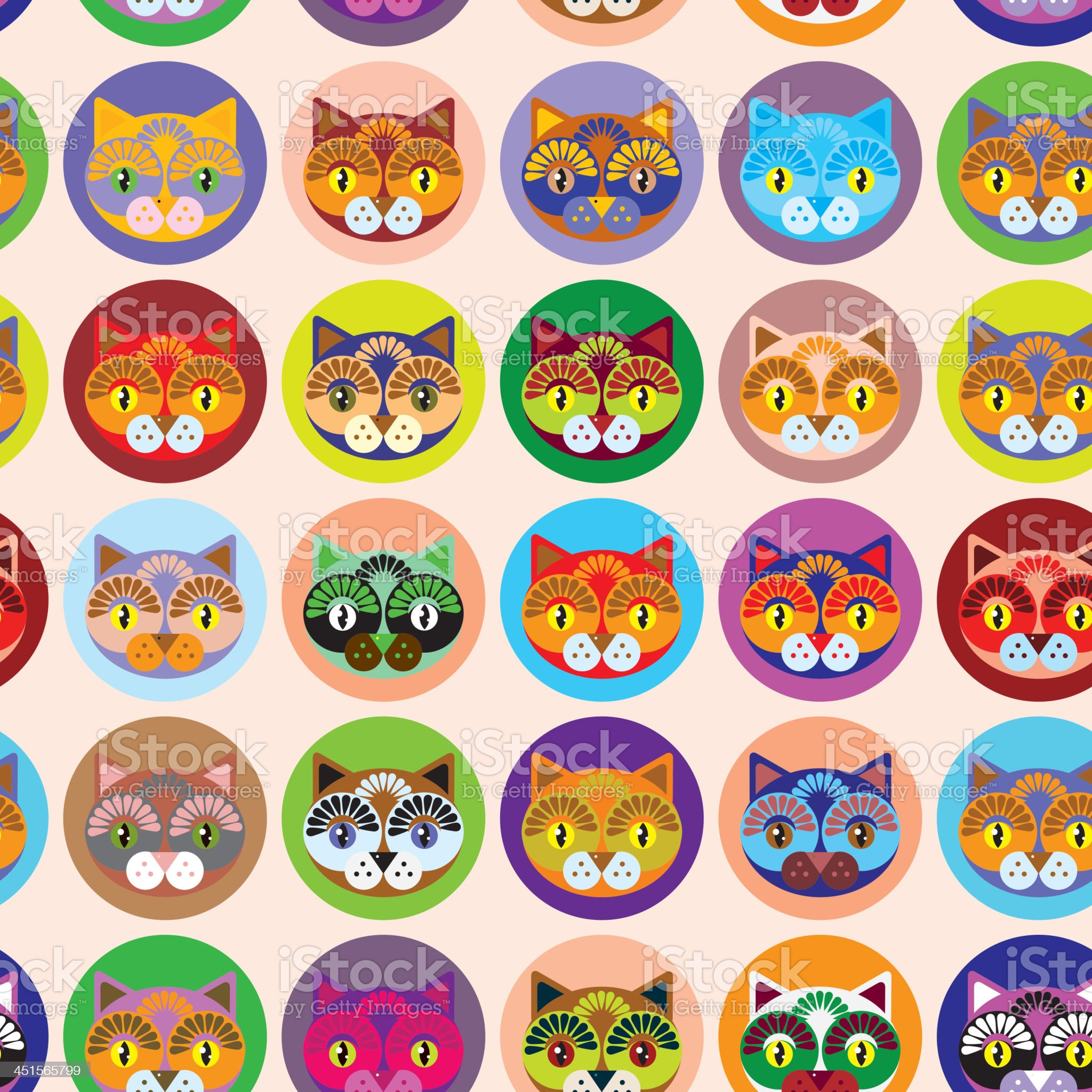 Seamless background with muzzle of cats. vector royalty-free stock vector art