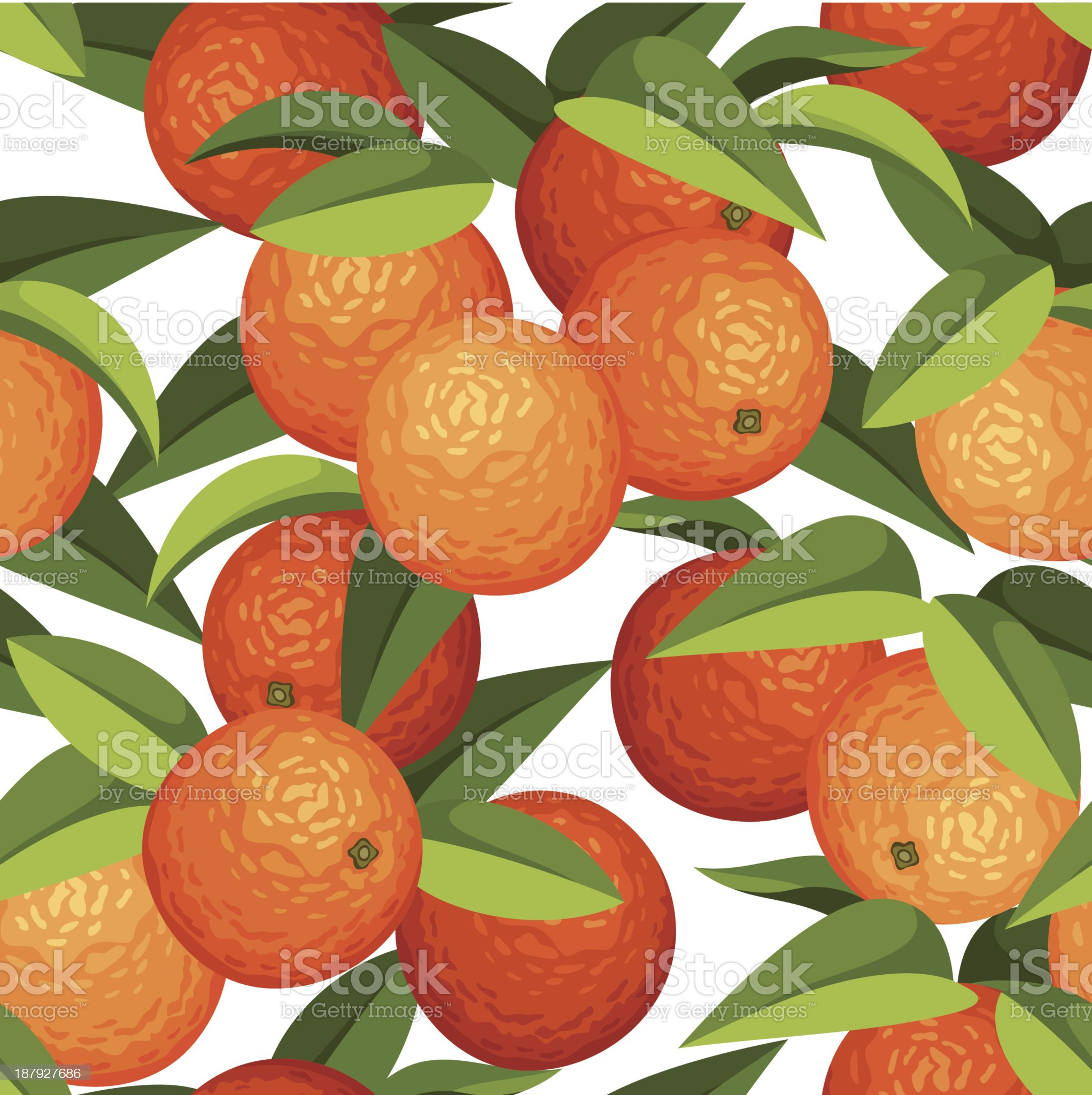 Seamless background with oranges and leaves. Vector illustration. royalty-free stock vector art