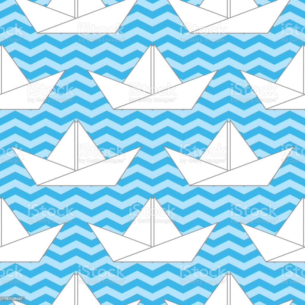 Seamless background with paper boats on the waves royalty-free stock vector art