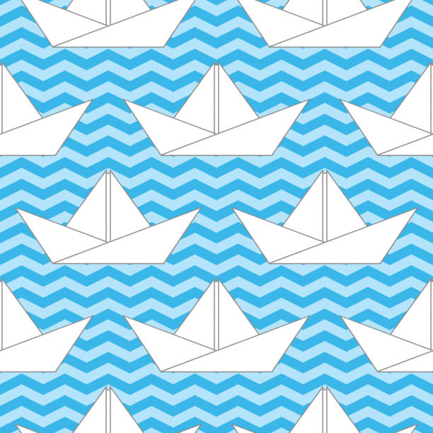 Seamless Background With Paper Boats On The Waves Vector Art Illustration
